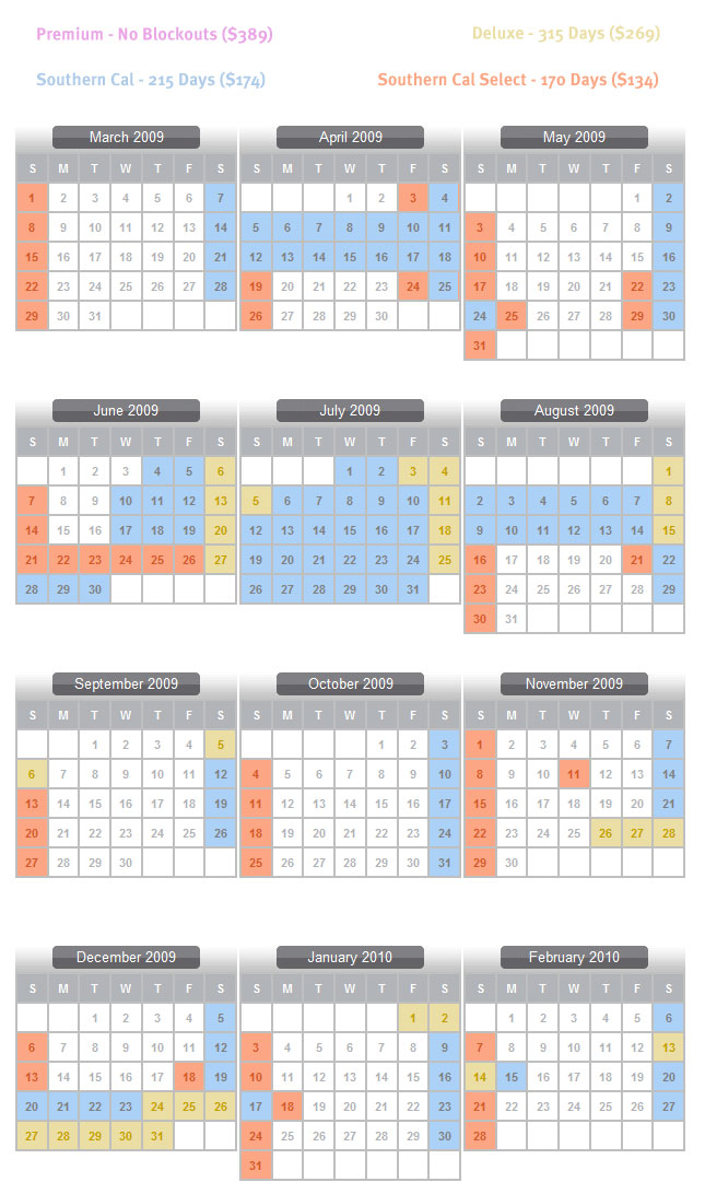Disneyland Blockout Dates Calendar